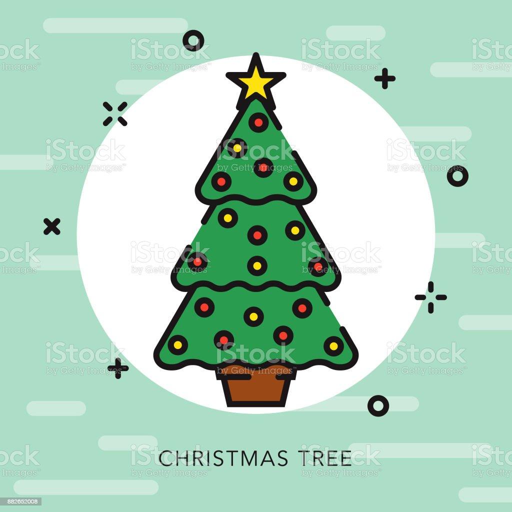 Christmas Tree Open Outline Icon vector art illustration