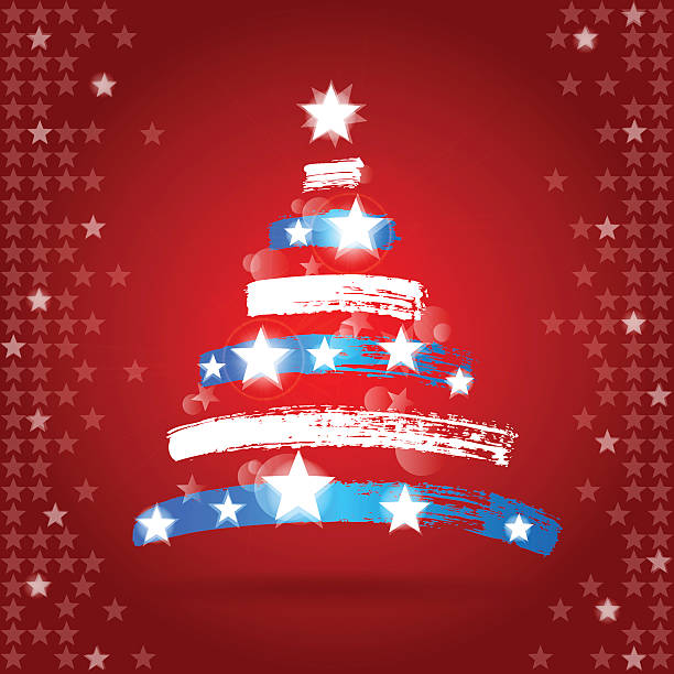 Patriotic Christmas.Best Patriotic Christmas Illustrations Royalty Free Vector