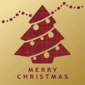 Celebrate Christmas with paper craft, in which Christmas tree and decoration cutting out from gold colored background and revealing the red checked pattern