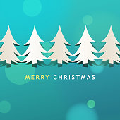 Celebrate Christmas with a row of Christmas Tree paper craft on the green background