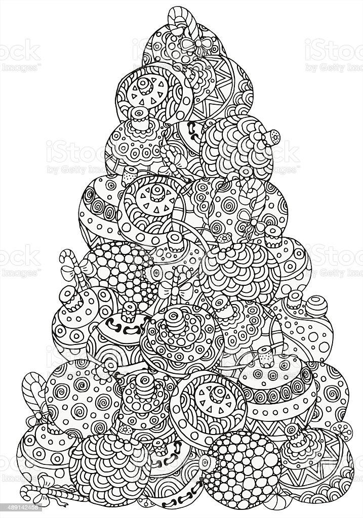 Ilustración de Árbol De Navidad Patrón Para Colorear Libro y más ...