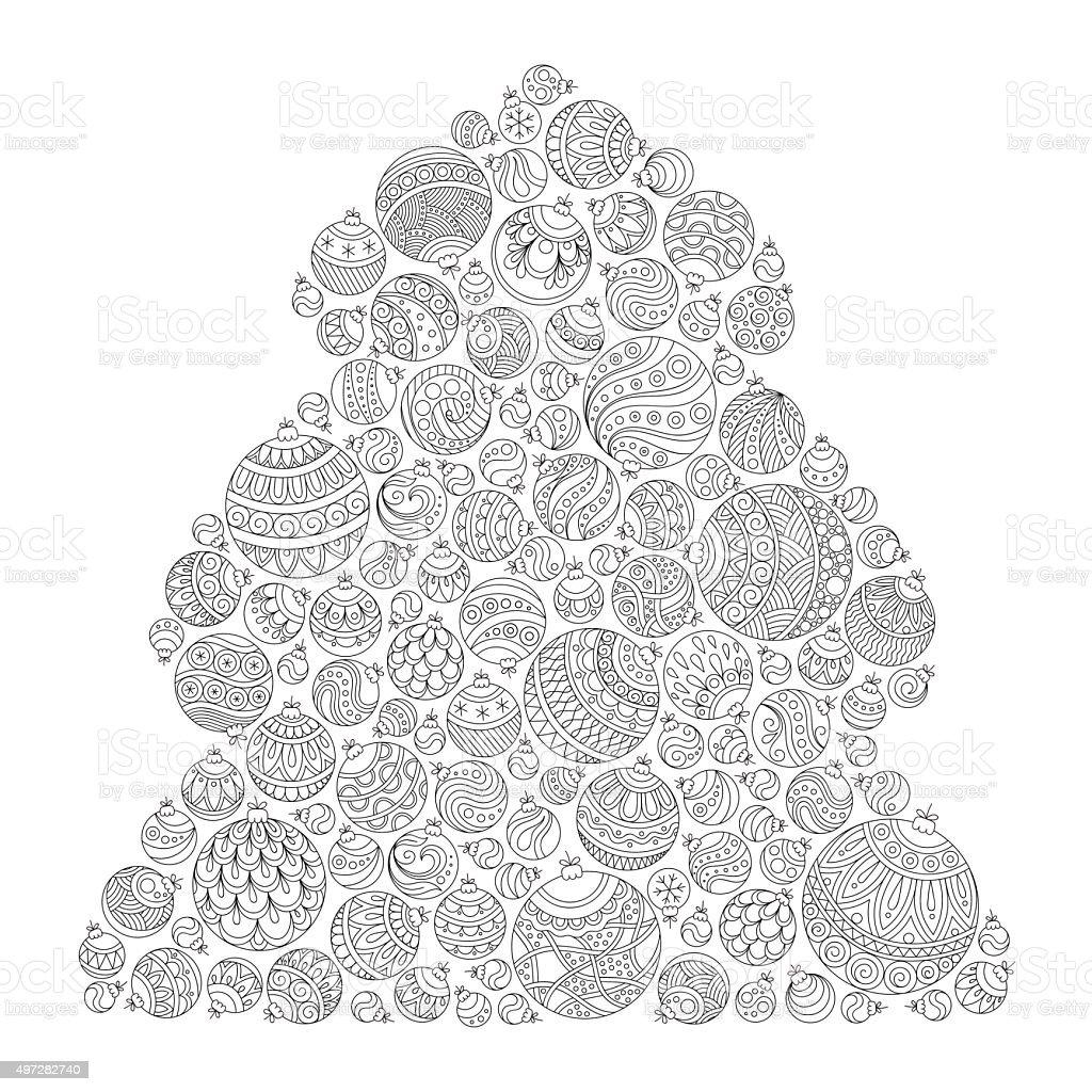 Albero Di Natale Motivo Per Libro Da Colorare Zentangle Immagini