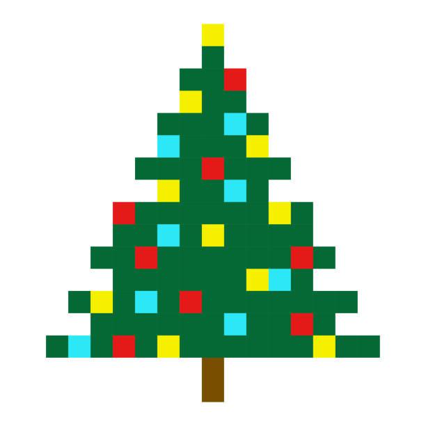 Christmas tree pixel art cartoon retro game style set vector art illustration