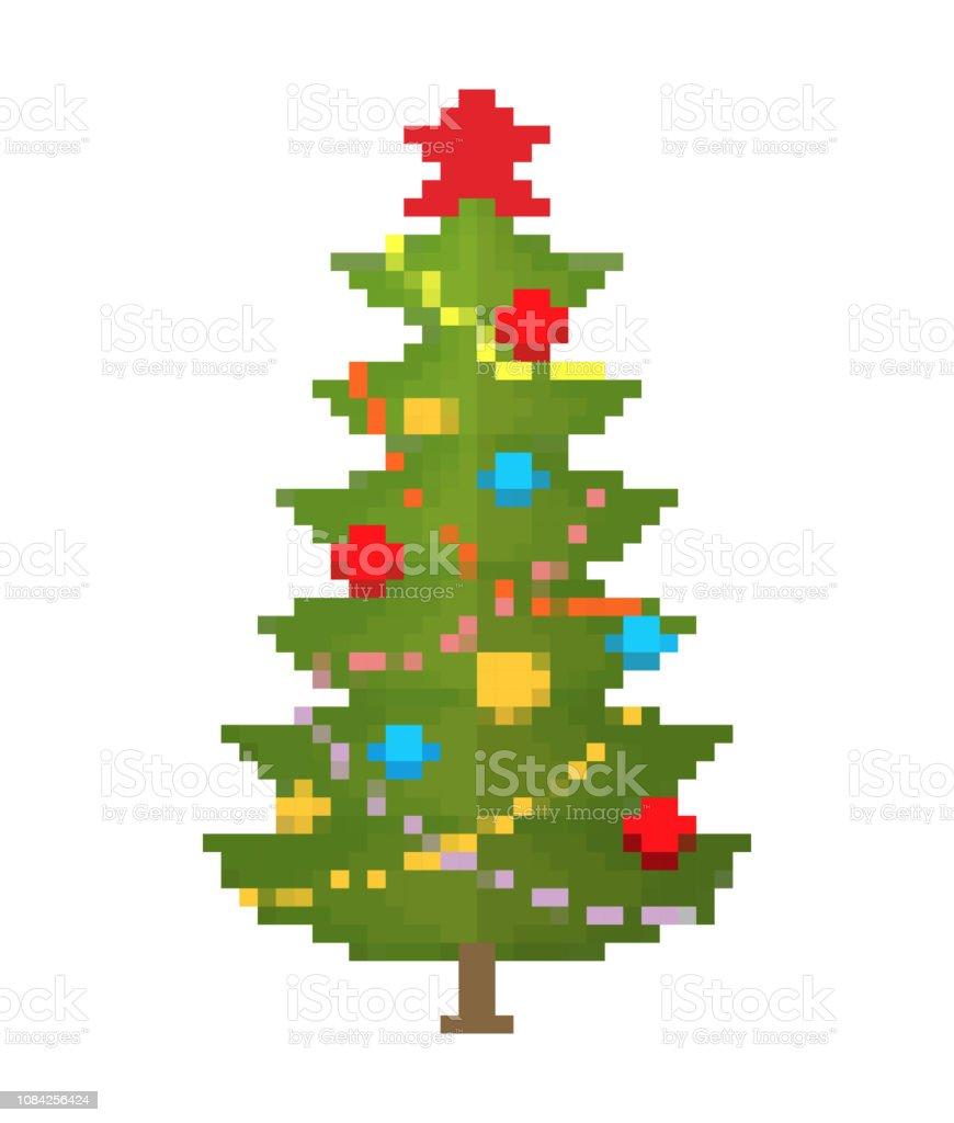 クリスマス ツリー ピクセル アート。新年 8 ビット ベクターアートイラスト