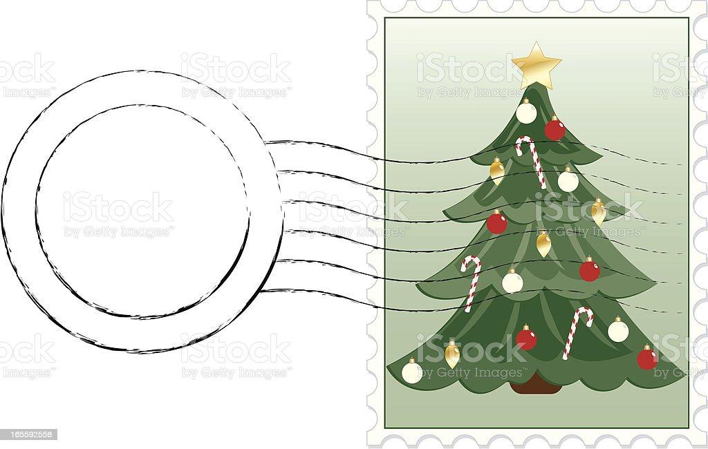 Christmas Tree Postage Stamp royalty-free stock vector art