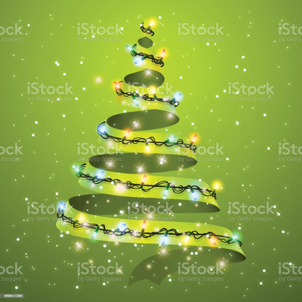 Christmas tree ribbon on background. Glowing lights for Xmas Holiday greeting card design. A new year and Christmas greeting card or party invitation. Vector illustration. vector art illustration