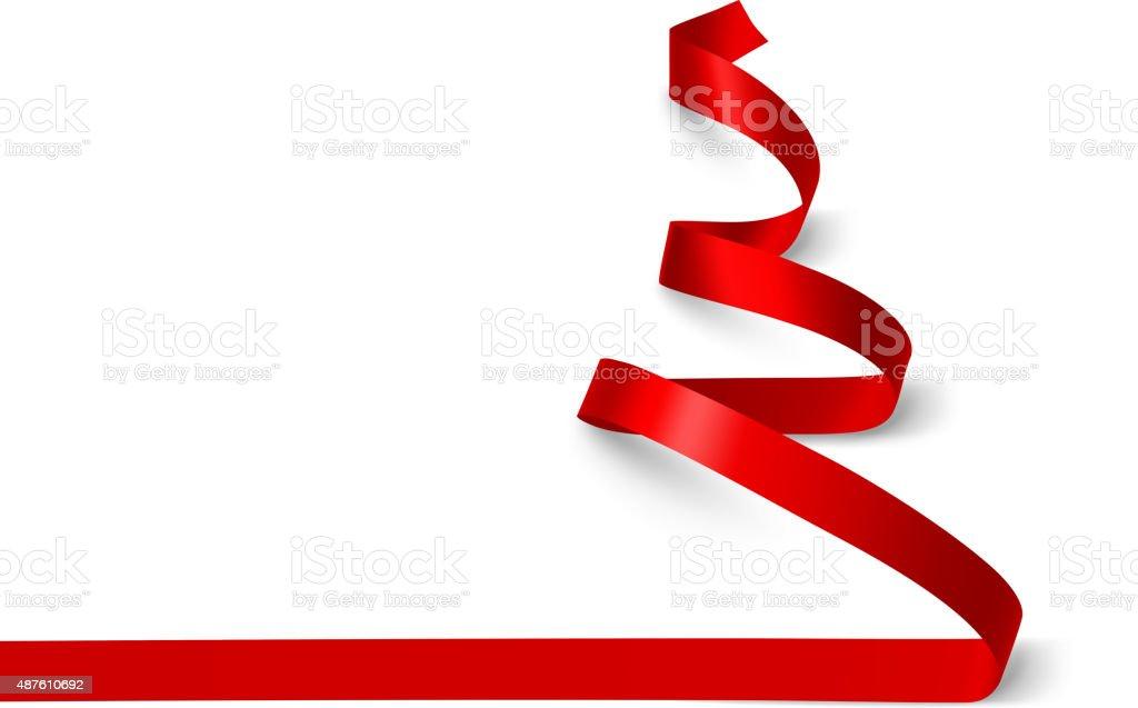 Christmas Tree ribbon. Vector vector art illustration