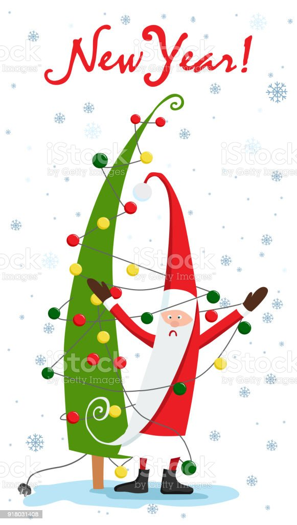 christmas tree santa claus and the garland christmas vector rh istockphoto com free christmas vector art borders free christmas vector clipart