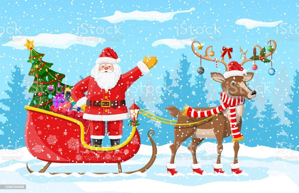 Imagenes De Papa Noel De Navidad.Ilustracion De Arbol De Navidad Papa Noel Con Trineo De