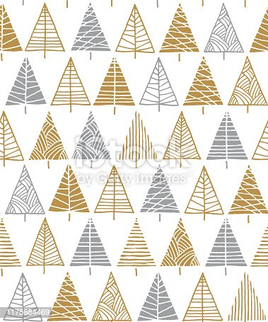 istock Christmas tree seamless pattern background. 1175684469