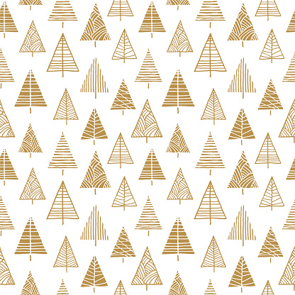 Christmas tree seamless pattern background.