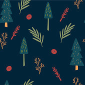 istock Christmas tree seamless pattern. Scandinavian style woodland plants. Botanical wrapping paper. Forest meadow vector background. Christmas trees, branches, herbs and berries. Hand drawn vector 1337179343