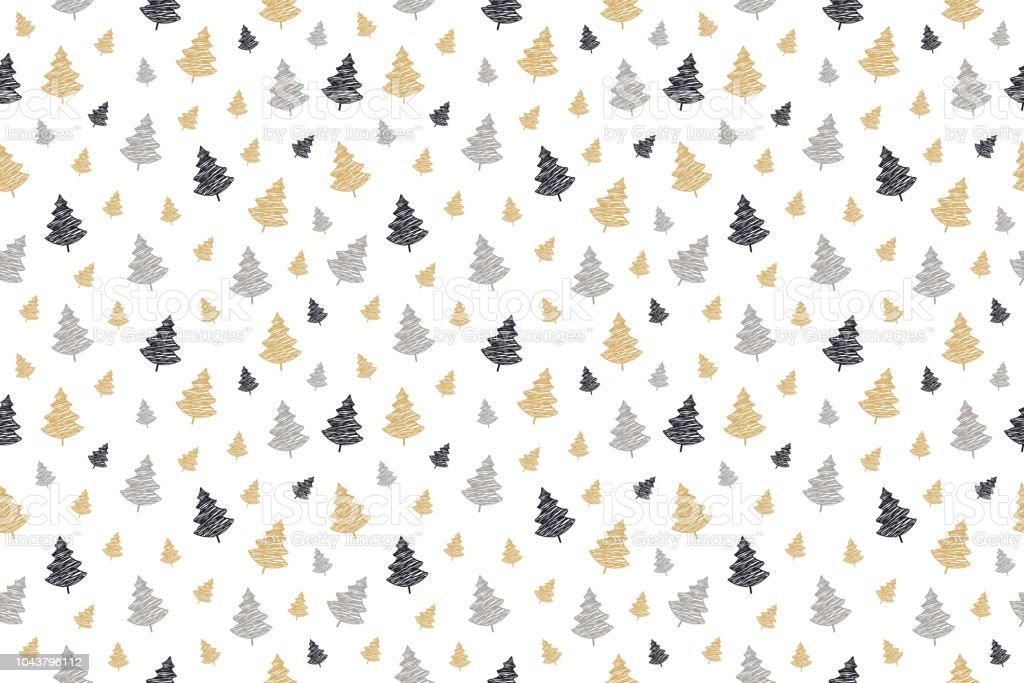 Ilustración De Garabato De Patrones Sin Fisuras De árbol De Navidad