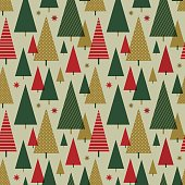 Christmas tree seamless pattern - Illustration.
