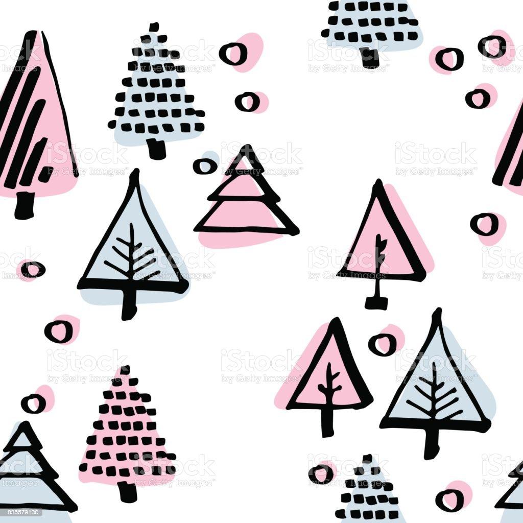 christmas tree seamless pattern vector art illustration