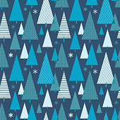 Christmas tree seamless pattern - Illustration