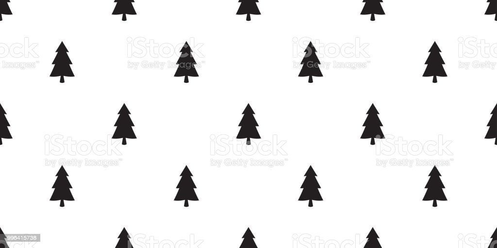 Christmas Tree Seamless Pattern Vector Santa Claus Snow Forest Wood