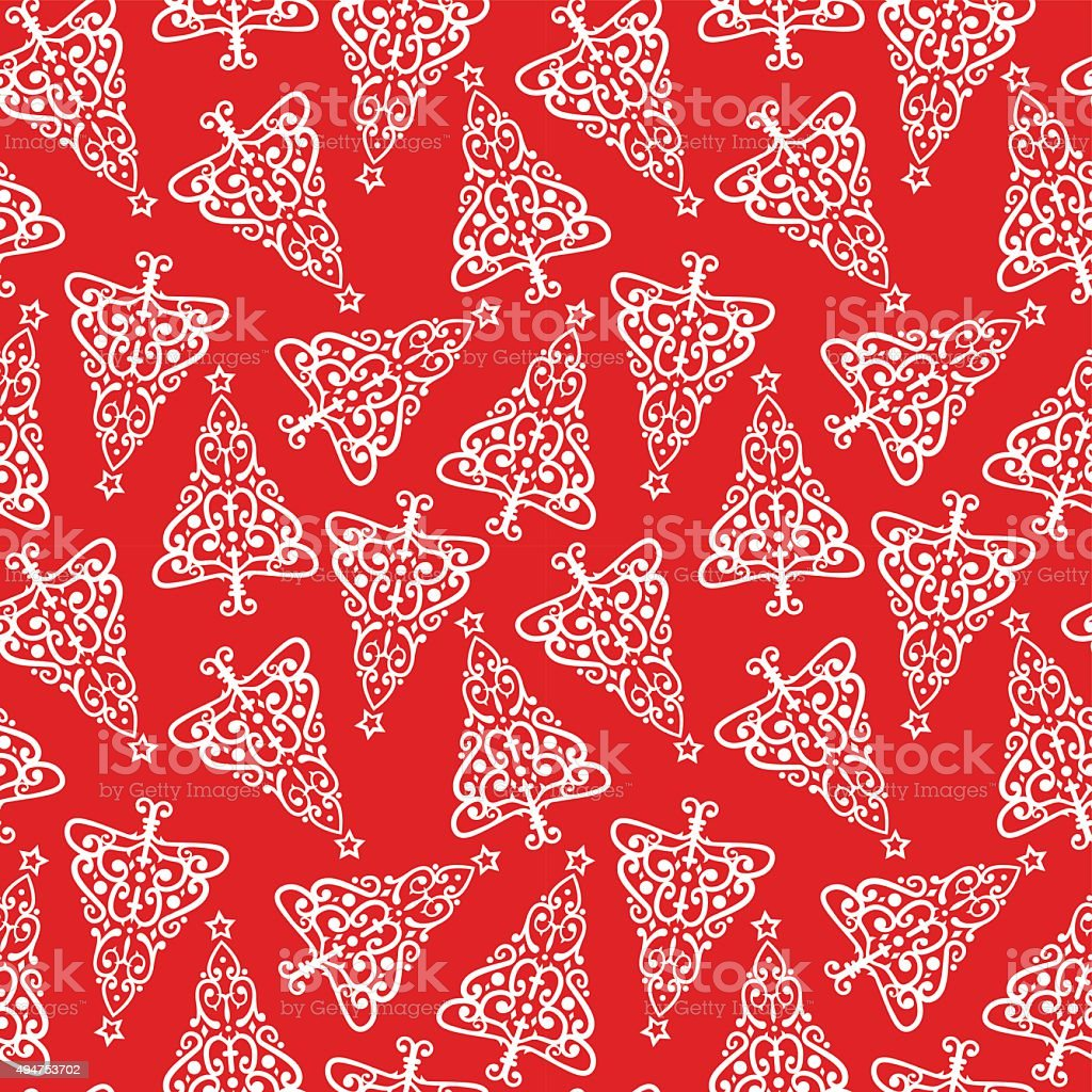 Christmas Tree Seamless Vector Pattern vector art illustration