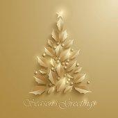 Greeting card with Christmas tree.