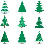 Christmas Tree Set Isolated on White Background. Illustration Vector Eps10.