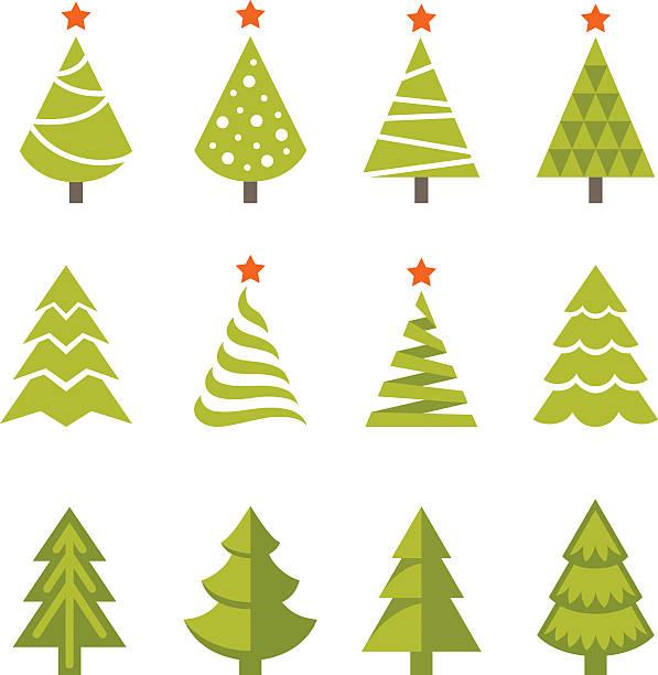 christmas tree set vector art illustration - Christmas Tree Clip