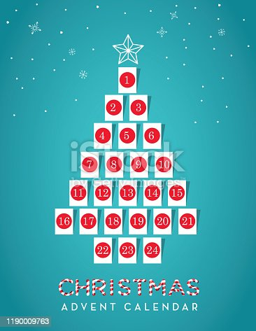 Vector illustration of a Christmas Tree shaped Holiday Advent calendar date with gift tags. Countdown to Christmas. Easy to edit with layers. EPS 10.