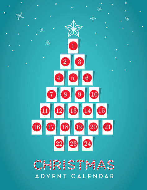 Christmas Tree shaped Holiday Advent calendar date with gift tags vector art illustration