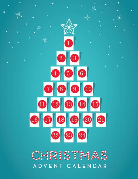 illustrations, cliparts, dessins animés et icônes de date du calendrier de l'avent en forme d'arbre de noel avec des étiquettes de cadeau - calendrier de l'avent