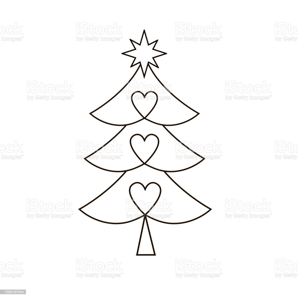 Christmas Tree Silhouette With Decorations Stock Vector Art & More ...