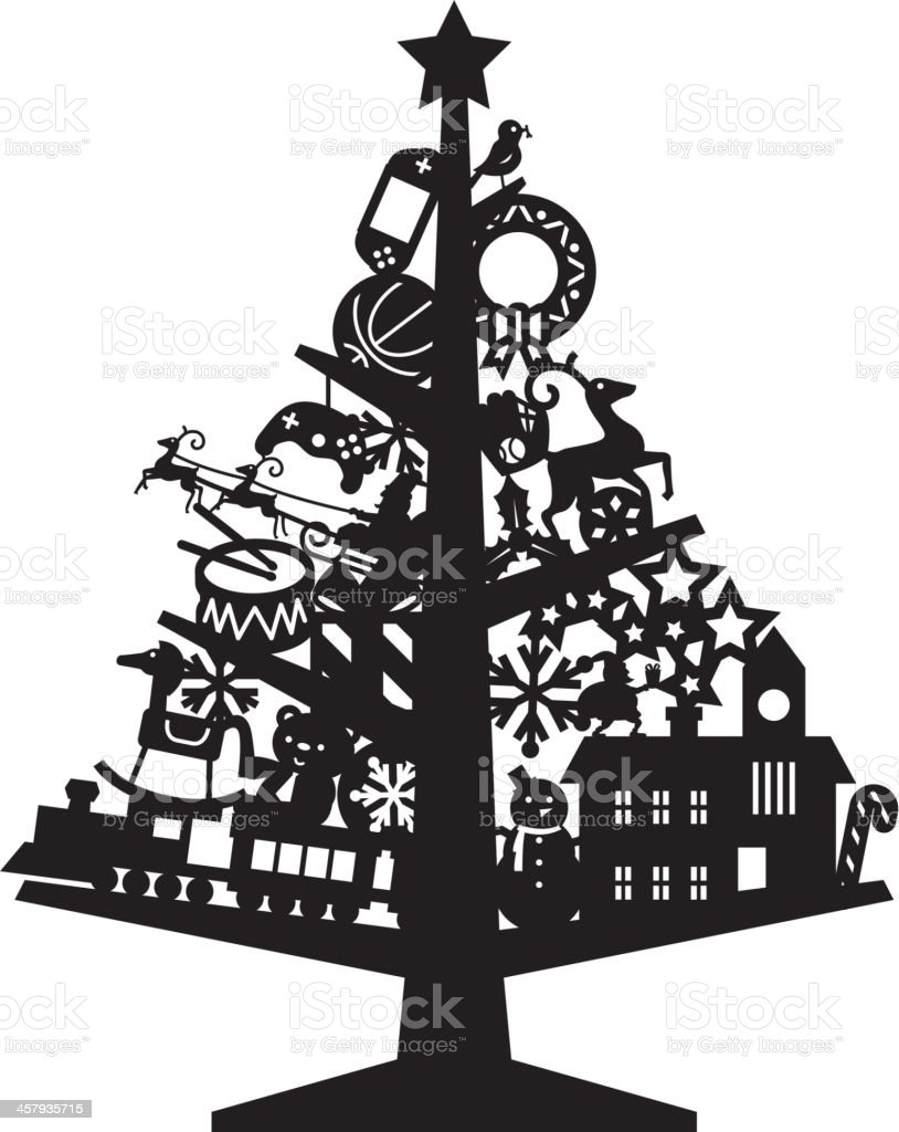 Christmas tree silhouette with toys stock vector art