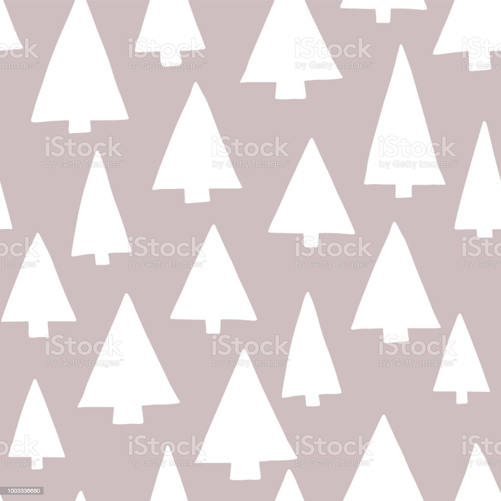 Christmas tree silhouettes white on a gray background. Modern elegant Christmas tree pattern. Seamless vector pattern. Perfect for Christmas - fabric, gift wrap, and packaging. vector art illustration