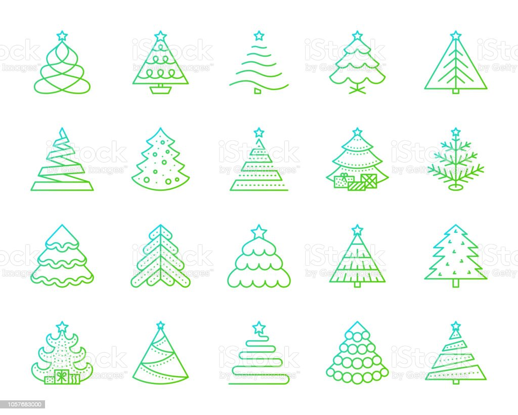 Christmas Tree Icons.Christmas Tree Simple Color Line Icons Vector Set Stock Illustration Download Image Now
