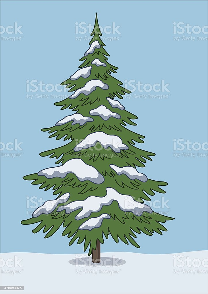 Christmas tree, snow and sky royalty-free stock vector art