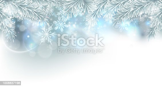 Christmas tree and snowflakes silver snow and ice crystals abstract background