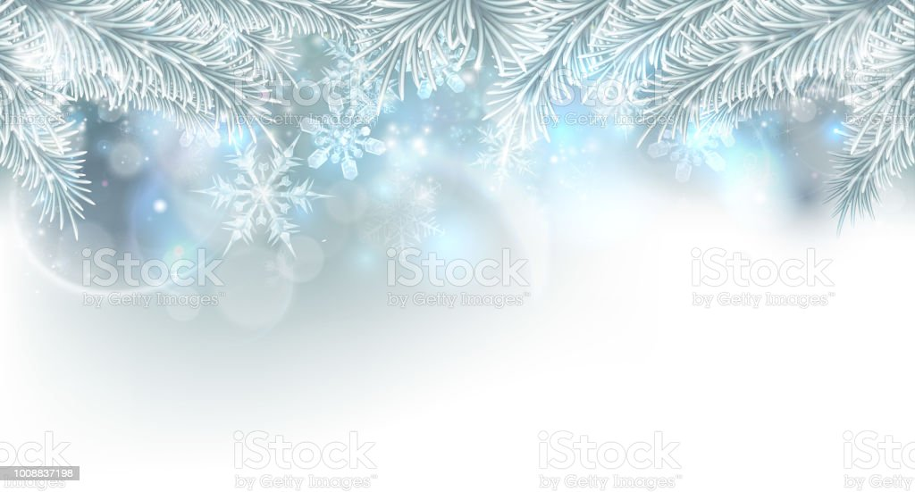 Christmas Tree Snowflakes Background vector art illustration