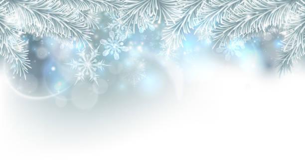 ilustrações de stock, clip art, desenhos animados e ícones de christmas tree snowflakes background - background christmas snow