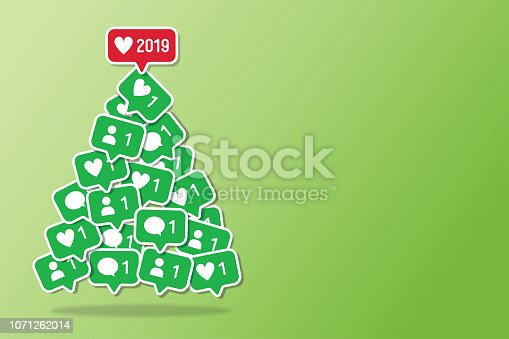 Christmas Tree Social Media New Year Holiday Networking Notifications Green Background Vector Illustration