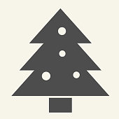 Christmas tree solid icon. Decorated holiday firtree glyph style pictogram on white background. New Year signs for mobile concept and web design. Vector graphics
