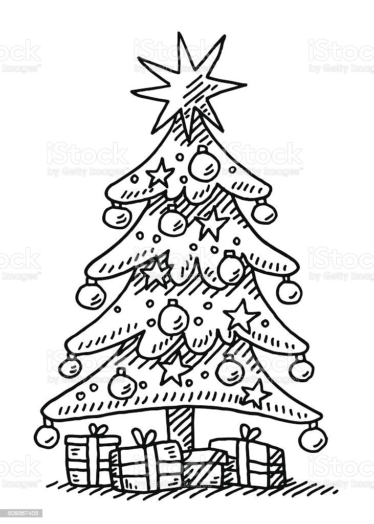 Drawing Of A Christmas Tree.Christmas Tree Star Gift Boxes Drawing Stock Illustration