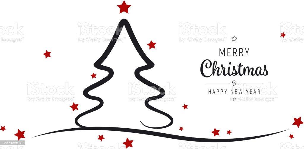 christmas tree stars greetings silhouette isolated background vector art illustration