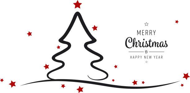 bildbanksillustrationer, clip art samt tecknat material och ikoner med julgran stjärnor hälsningar siluett isolerade bakgrund - christmas tree