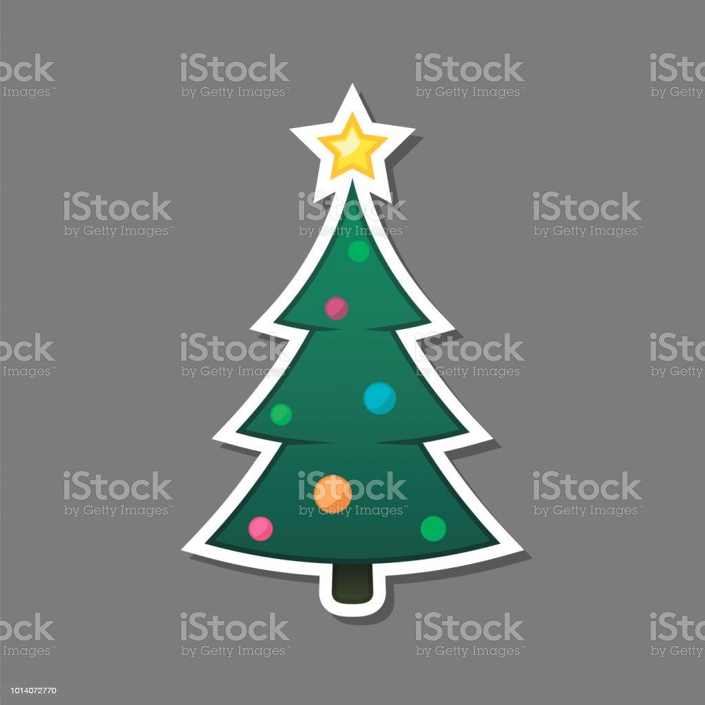 Xmas Deko Weihnachtsbaum.Weihnachtsbaumaufkleber Isoliert Xmas Dekoration Vektorelement Stock