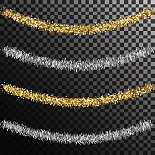 Tinsel for christmas tree. Gold and silver isolated decoration. Sagging curved festive frippery.