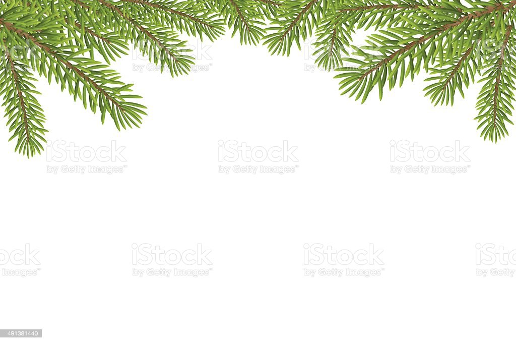 Christmas tree top frame isolated on white background vector art illustration