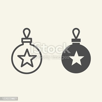 istock Christmas tree toy line and solid icon. Christmas ball outline style pictogram on white background. Glass bauble with star for mobile concept and web design. Vector graphics. 1220229921