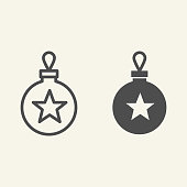 Christmas tree toy line and solid icon. Christmas ball outline style pictogram on white background. Glass bauble with star for mobile concept and web design. Vector graphics
