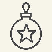 istock Christmas tree toy line icon. Christmas ball outline style pictogram on white background. Glass bauble with star for mobile concept and web design. Vector graphics. 1220233311