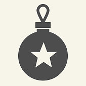 Christmas tree toy solid icon. Christmas ball glyph style pictogram on white background. Glass bauble with star for mobile concept and web design. Vector graphics