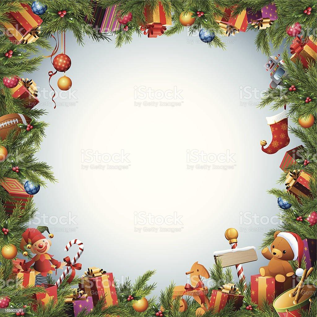 Christmas Toys Border : 크리스마스 트리장난감 선물함 테두리 일러스트 istock