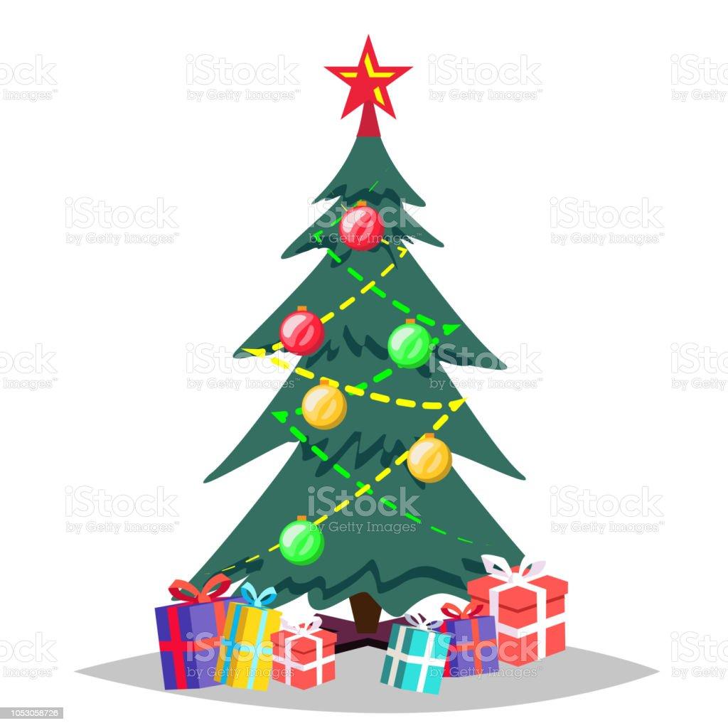 Christmas Tree Vector Cartoon Isolated Winter Illustration Stock
